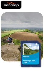 Satmap English Counties - Cheshire 1:50k Map Card