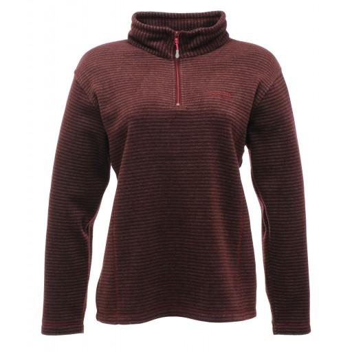 Regatta Embrace Women's Microfleece Top - Burgundy Stripe