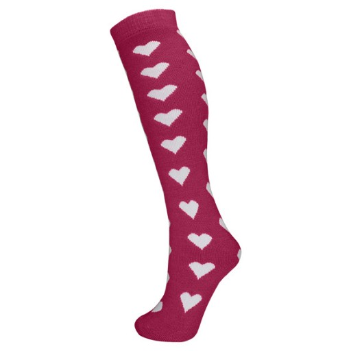 Manbi Girl's Patterned Ski Tubes - Hearts Magenta