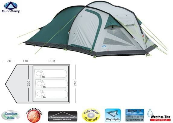 Sunncamp Evolution 300 Dome Tent from Sunncamp for £130.00