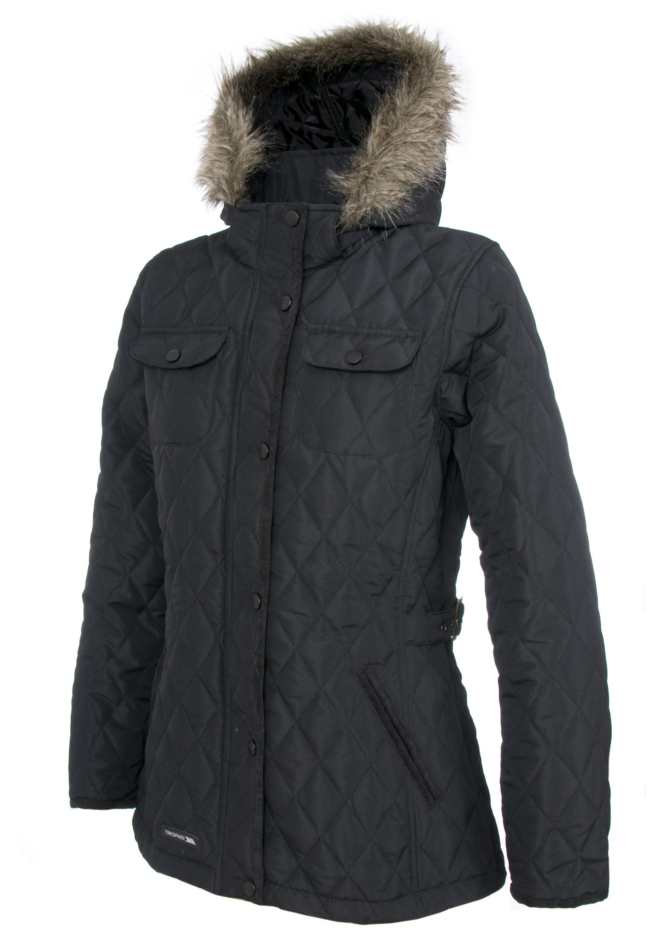Trespass Purdey Women S Quilted Jacket Black By Trespass