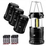 LE Portable Camping Lights, 350 Lumen COB LED Lantern, Battery Operated, Collapsible Outdoor Tent Lights for Hiking, Fishing, Power Cuts, Emergency and More, AAA Batteries Included, Pack of 4