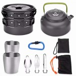 Odoland 11pcs Camping Cookware Mess Kit for 1-2 People, Lightweight Outdoor Pot Pan Kettle with 2 Cups, Fork Knife Spoon Kit Backpacking Picnic Gear for Trekking and Hiking