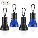 Hommie 4 Pack LED Tent Light Bulbs, Portable LED Lantern Tent Light Bulb with Hooks, Waterproof Camping Lights Battery Powered Camping Equipment for Hiking Fishing Camping, Black and Blue