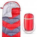 Sleeping Bag - Envelope Lightweight Portable, Waterproof, Comfort With Compression Sack, - Great For 4 Season Traveling, Camping, Hiking, & Outdoor Activities. (SINGLE) (Red)