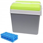 Guaranteed4Less Large 24L Insulated Cooler Box Camping Drinks Ice Festival Beach Picnic Travel (Grey Cool Box & Ice Blocks)