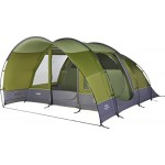 Vango Avington 500 5 Man Tunnel Tent, Family Tent With Pre-Attached Extension, High-Visibility Guylines and 18 Minutes Pitching Time, Herbal
