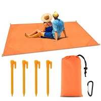 BROTOU Pocket Picnic Blanket 79 * 55inch, Sand Proof and Water Resistant, Compact Beach Blanket for Outdoor Travel Camping Festival Sports (Orange)