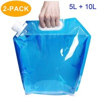 CAVN Water Carrier Collapsible Water Container Tank [5L + 10L] Water Storage Bag for Hiking Camping Picnic Travel BBQ, [PE Plastic] [BPA Free] [Non-toxic] [Odorless]