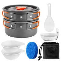 Odoland Camping Cookware Kit Non Stick Camping Pans Portable Lightweight Cooking Set Hiking Campfire Backpacking Pans and Pots Gear for Trekking Hiking Picnic (For 1-2 people)