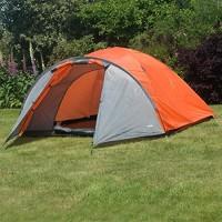 Adtrek Orange Double Skin Dome 4 Man Berth Camping Festival Family Tent