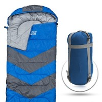 Abco Tech Sleeping Bag - Envelope Lightweight Portable, Waterproof, Comfort With Compression Sack, Great For 4 Season Traveling, Camping, Hiking, Outdoor Activities. (SINGLE) (Blue)