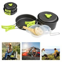 BelleStyle 9 Pcs Camping Cookware Mess Kit - Backpacking Hiking Outdoor Picnic Cooking Gear - Bowls Utensil Pot Pan Set -Bag Cooking Equipment Cookset - Lightweight, Compact, Durable Pot Pan Bowl